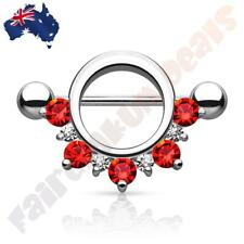 316 Surgical Steel Silver Ion Plated Nipple Shield with Red & Clear Gems
