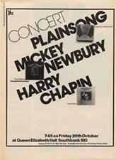 Plainsong Mickey Newbury Harry Chapin concert advert Time Out cutting 1972