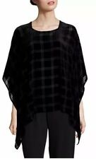 NEW EILEEN FISHER MISSES BLACK PLAID VELVET BURNOUT PONCHO O/S $248