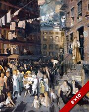 NEW YORK CITY CLIFF DWELLERS EARLY 1900'S STREET PAINTING ART REAL CANVAS PRINT