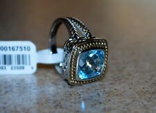Sterling Silver 14K Gold Natural Blue Topaz Gemstone Ring Sz7 NWT