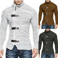Mens Winter Turtleneck Knitted Buckle Sweater Warm Cardigan Pullover Coat Jacket