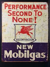 Mobilgas Pegasus 2nd TIN SIGN mobile Oil Vtg Metal Garage Gas Station Decor