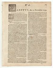 1759, Nov.10, Original French Gazette, News Gen. Amherst, Quebec Canada America