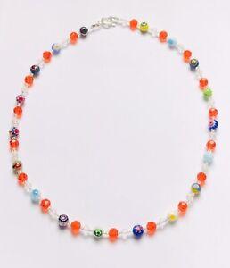 Stunning Orange Crystal & Millefiori Necklace