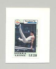 Sierra Leone #1511 Olympics, Gymnastics 1v Imperf Proof on Card