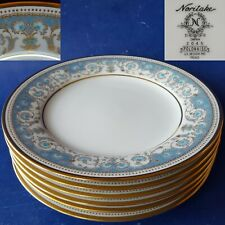 "6 Noritake Japan 2045 'Polonaise' 6-3/8"" Bread Plates. Blue Gold Floral Filigree"