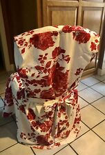FABULOUS RED&WHITE TOILE FLORAL DININGROOM CHAIR COVERS WITH BOW BACK(4)