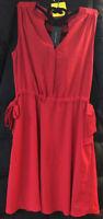 $89.99 Tommy Hilfiger Red Polyester  3-Button V neck sleeveless Dress Size: Med
