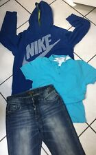 LOT GARCON TAILLE 14 ANS JEANS DEELUXE POLO HUGO BOSS SWEATER CAPUCHE NIKE