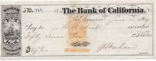 1869 Revenue Stamped Paper check from the Bank of California San Francisco