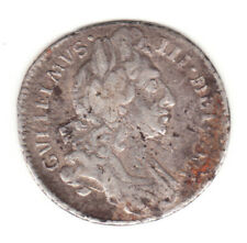 1696 England William III Sterling Silver Colonial Times Sixpence.
