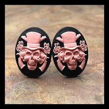 New Cufflinks Skull 💀 Guns Roses Top Hat Resin Cameo Silvertone Pink Black I43
