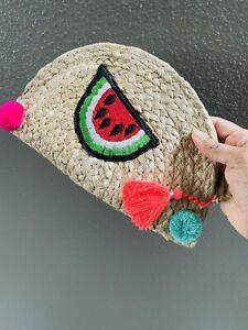 Straw Clutch, Women Summer beach accessory, Embroidered Braided Woven Rattan Bag