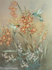 HUMMING BIRD PICTURE FLOWERS TWO HUMMING BIRDS PRINT ONLY 16X20