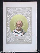 1879 SAN VITALIANO VITALIANUS ANTICA STAMPA CROMOLITOGRAFIA PAPA POPE D247 m