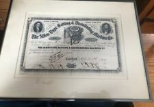 Alden Type Setting & Distributing Machine Co - Stock Certificate 1864 Signed