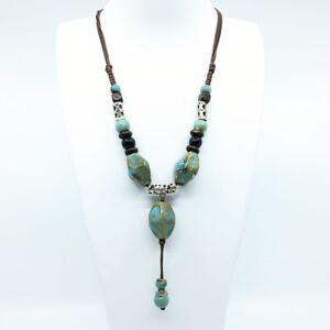 Women Long Bib Vintage Rope Fashion Bead Pendant Statement Necklace Jewellery