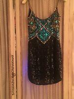 Oleg Cassini Black Tie Vintage Sequin Dress Size 6