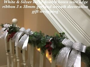 White/Silver Xmas Bows Wire Edge Ribbon 3x 38mm Wreath Garland Tree Decorations