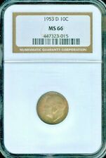 1953-D ROOSEVELT DIME NGC MS66 TONED COIN IN HIGH GRADE