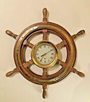 Nauticalia Quality Ships Wheel Quartz Wall Clock - LARGE 52cm