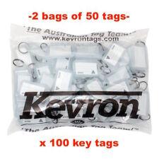 Key Tags -2 Bags Of 50 CLEAR Plastic KEVRON Click Key Tags -100 TAGS-FREE POST