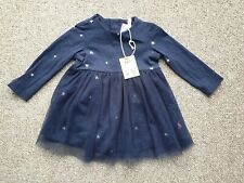 New Joules Baby Girls Dress Age 6-9 Months Orion Navy Star