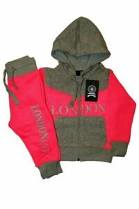 Pink/Grey Souvenir Girls Tracksuit Zipped Top | Cuffed Ankle Bottom | 0 -16 Year