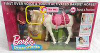 MATTEL BARBIE DREAM HORSE, INTERACTIVE VOICE & TOUCH ACTIVATED HORSE & DOLL, NEW