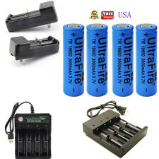3000mAh Flat Top 18650 Rechargeable Battery 3.7V Li-ion Batteries Smart Charger