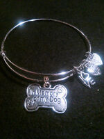 """In Memory of My Dog"" Silver Wire Expandable Bracelet"