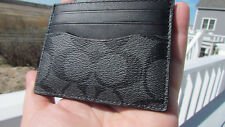 NEW COACH ID card case signature leather canvas $75 charcoal black 58110 classy