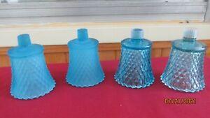 Lot of 4 Vintage Blue Diamond Cut  Home Interior Votive Cups