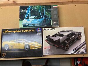 Lamborghini/Pantera 1/24-25 Scale 3-Kit Plastic Model Lot Junkyard, Please Read