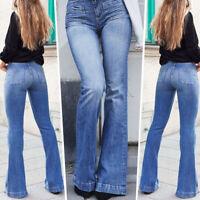 Women Stretchy High Waist Denim Jeans Flare Elastic Trouser Slim Fit Long Pants