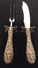 STIEFF Sterling Silver Rose Pattern Carving Knife & Fork Set — MINT, No Mono