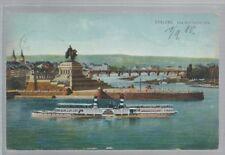 Koblenz *Das deutsche Eck *Schiff **Bahnpost Metz-Frankfurt 1910