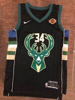 #34 Giannis Antetokounmpo Milwaukee Bucks Men's Black Statement Edition Jersey