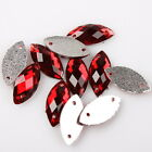 150pcs 24399 Faceted Embellishment Red Horse Eye Sew-on Flatback Button 7x15mm