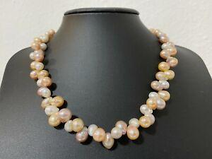 Multi Edison Süßwasserzuchtperlen  Collier Kette Perlen ca 8 - 10 mm Länge 44 cm