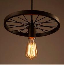 Industrial Wheel Pendant Ceiling Lamp Restoration Chandelier Rusty Indoors Light