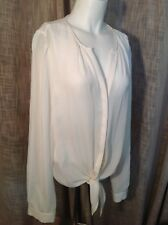 JOIE Off White Button Down Silk Blouse With Tie Front Sz M