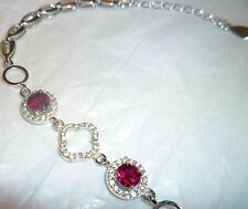 """Rhodolite & CZ Pave 925 Sterling Silver size 6"""" - 7.5"""" w Gift Box New Tag Modern"""