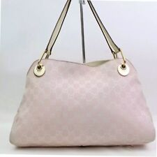 AUTH GUCCI GG PATTERN CANVAS LEATHER PINK SHOULDER BAG W/ DUST BAG