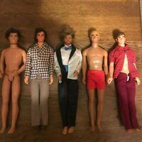 5~Vintage Mattel KEN Barbie Dolls & Clothes ~1 Suntan~ 3 MOD Hair~1 Talking