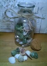 Decorative Glass Bottle/Jar Filled With Shells. Cork Stopper. Beach Theme Gift