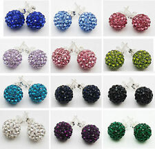 Silver Plated Round Crystal Shamballa Costume Earrings