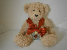 "RUSS BRIARTON TAN FLUFFY TEDDY BEAR 14"" RED BOW ORNAMENT ADORABLE"