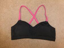 Moving Comfort Hot Shot black/pink padded criss cross-back sports bra Sz L